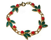 Holly Berry Link Bracelet Christmas Gold Tone Red Art Glass Berries Green Enamel Leaves Christmas Jewelry