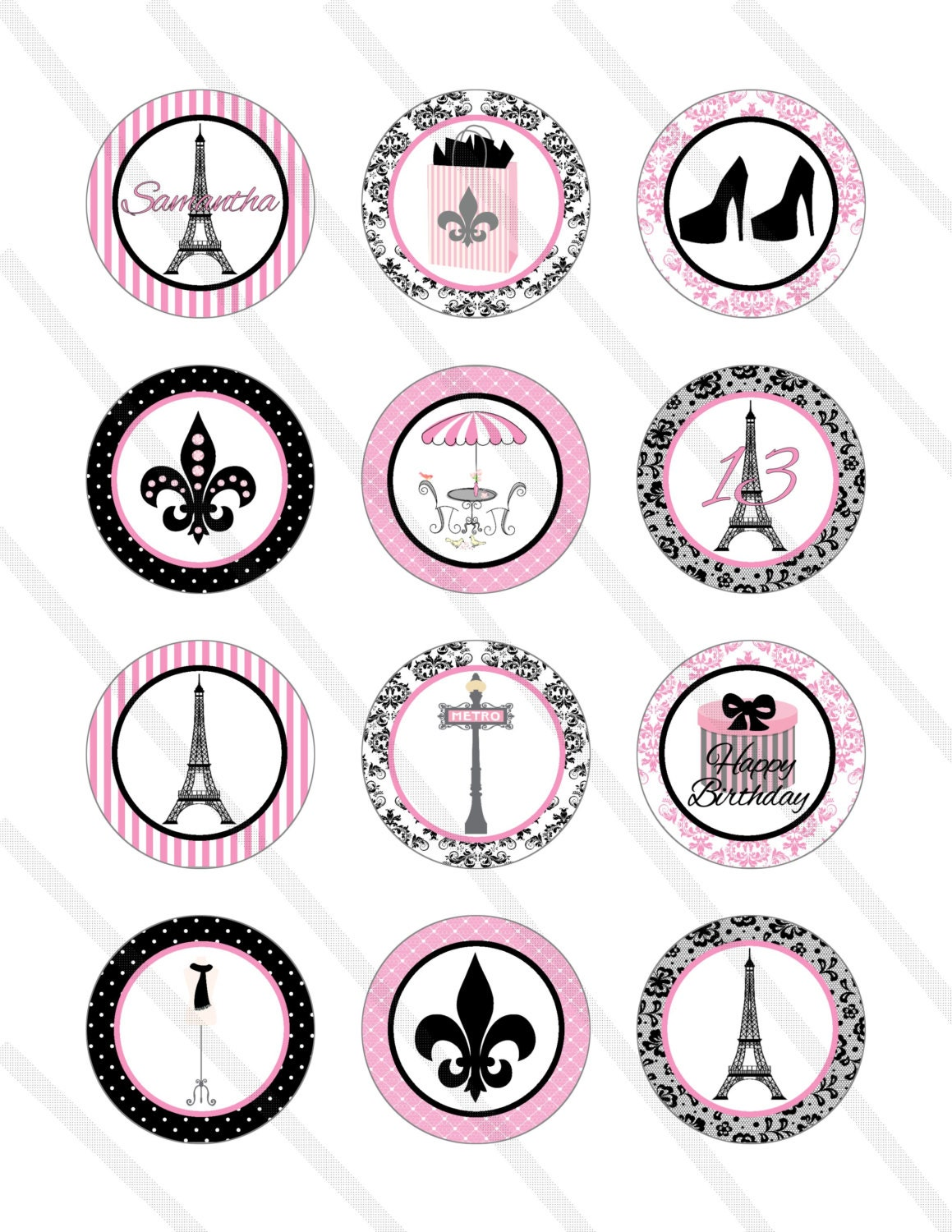 Paris Eiffel Tower Birthday Party 2 Inch By Krittskreations