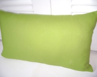 Lime Lumbar Pillow Cover, 12''x20'' Solid Lime Pillow Cover, Lumbar Pillow Cover