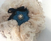 Fabric Lace Embroidered Beaded Flower Brooch and Hair Clip