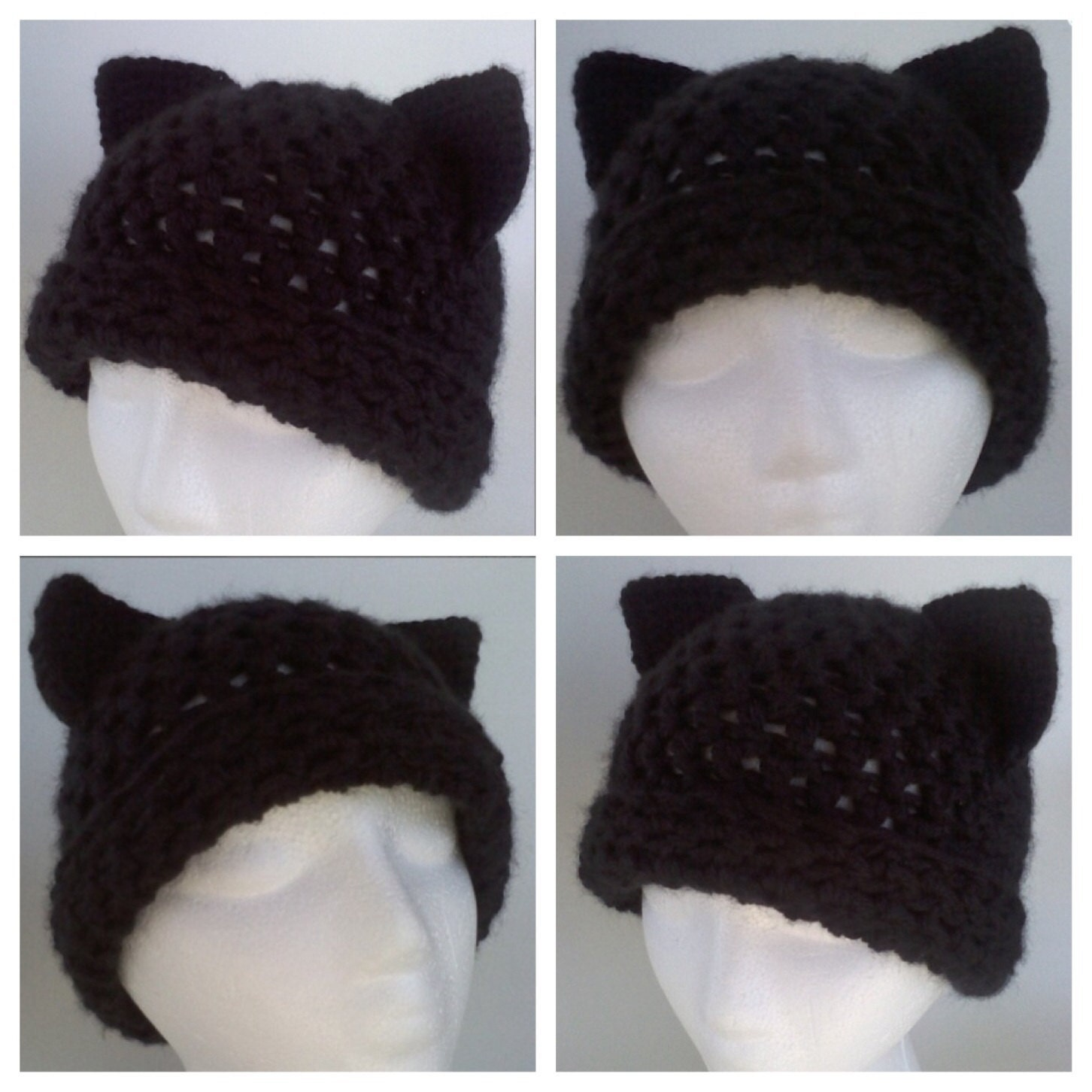 Cat hat pattern adult cat hat crochet cat by YvetteMariePatterns