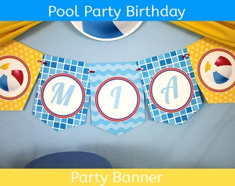Pool Party Banner / Pool Party Birthday Banner