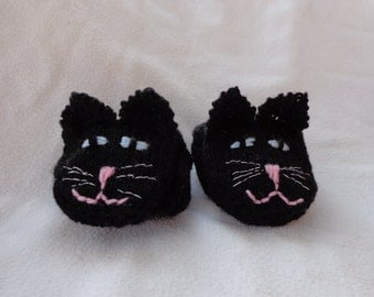 Hand Knit Black Cat Mittens- size small