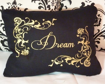 """Decorative Pillow Cover - Embroidered pillow cover - Linen pillows - pillows - pillow covers - Black & Gold - Worded Pillow """"Dream"""" - 12x16"""
