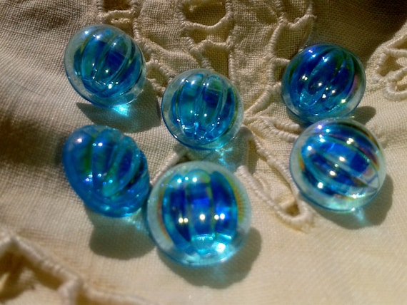 Art Deco Glass Buttons - Turquoise Blue - French 1930's - Aurora Borealis Shades Buttons -  Handmade - Couture Buttons -  Jewelry Assemblage