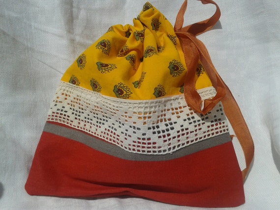 Provence Cosmetic Case Orange Yellow with French Lace and Ribon Handmade Cotton Pouch Natural Cosmetic or Jewel Pouch #sophieladydeparis