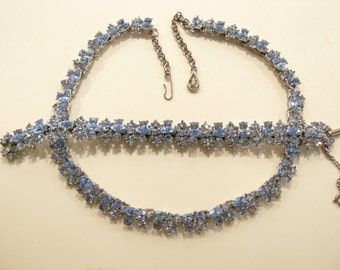 Beautiful Vintage Light Sapphire Rhinestone Necklace & Bracelet Set