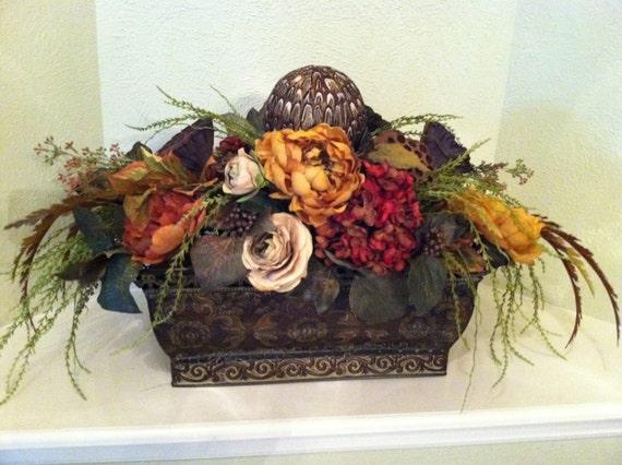 Long table centerpiece large silk floral arrangement