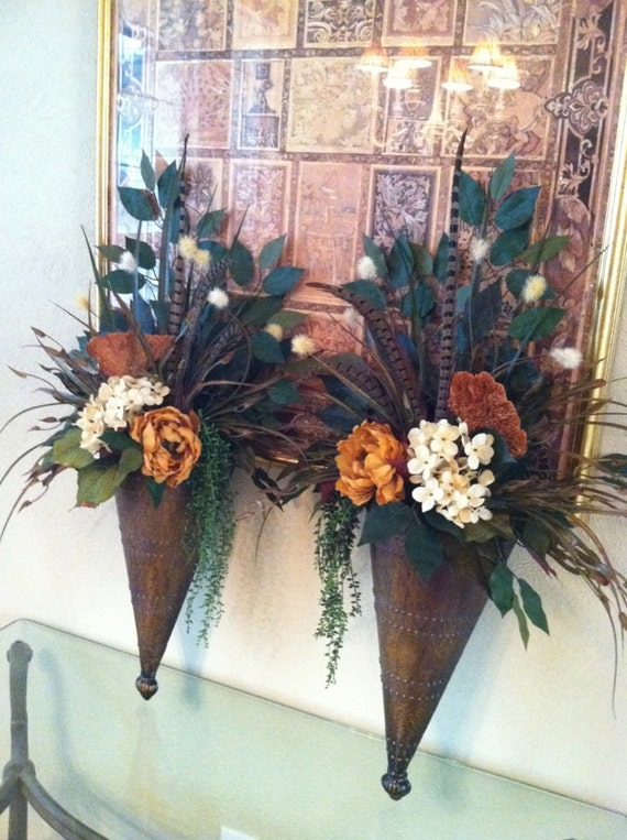 Pair of large wall sconces wall pockets floral wall decor for Wall decor arrangements
