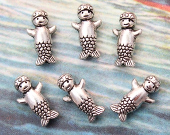 10 Baby Mermaid Bead Charms Antiqued Tibetan Silver Tone Double Sided 8 x 15mm