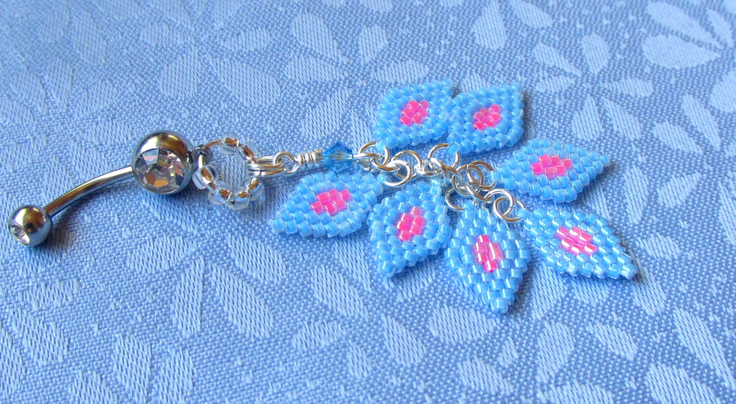 belly button ring beaded bellybutton ring by