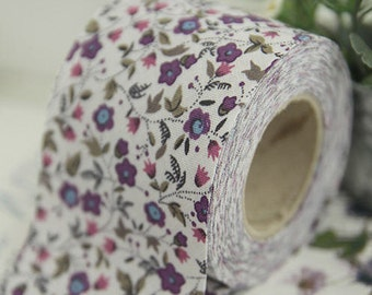 2 inch Citrus Floral Cotton Bias Tape in White-Grey by the roll 10 Yards 48257