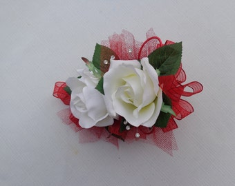 2 Piece wrist corsage and boutonniere in white roses and red ribbon