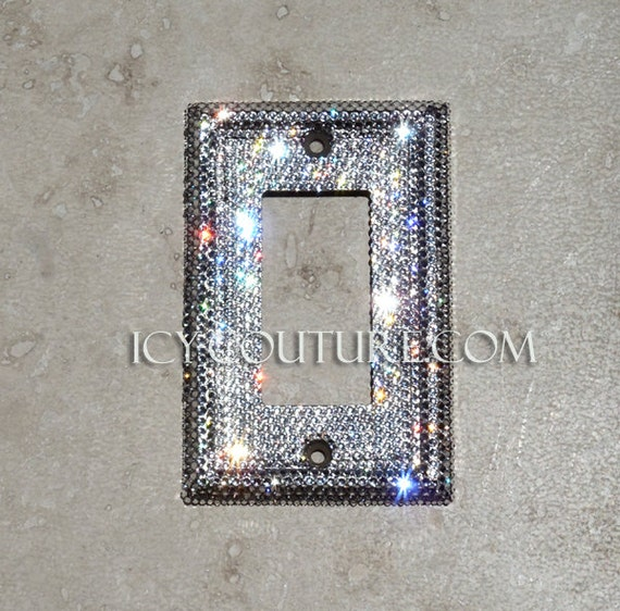 Switched Wall Light Crystal : Crystal Single Light Switch BLING Wall Plate Swarovski