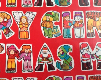 Vintage Christmas Gift Wrapping Paper by Hallmark - Juvenile Merry Christmas Letters with Seasonal Characters -1 Unused Full Sheet Gift Wrap