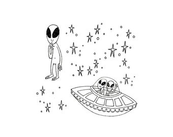 Alien Cryptozoology Cryptid Download Space UFO Printable Embroidery Pattern Digital Downloadable Hand Embroidery 0062
