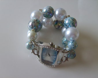 Double Stranded Blue & White Beaded Watch Band Set (92)