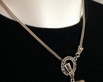 925 STERLING SILVER and Marcasite Chain Necklace     17-1/4""