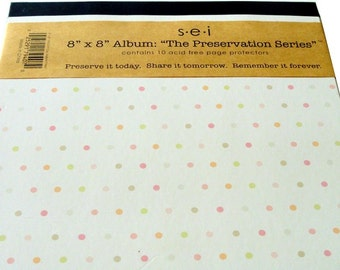 """Photo Album, Acid Free Page Protectors, 8"""" x 8"""", White with Polka Dots, Scrapbooking, Baby"""