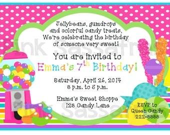 Girl Sweet Shop Birthday Invitation