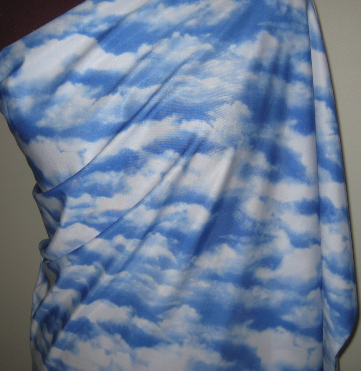 Cloud print spandex fabric from snapdragonfabrics on etsy for Spandex fabric