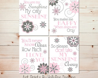 Baby Girl Nursery Decor You are My Sunshine Pink Gray Nursery Wall Art Set of 4 Prints Floral Nursery Wall Decor Girls Room Wall Art