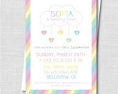 Pastel Rainbow Birthday Invitation - Rainbow Themed Party - Digital Design or Printed Invitations - FREE SHIPPING