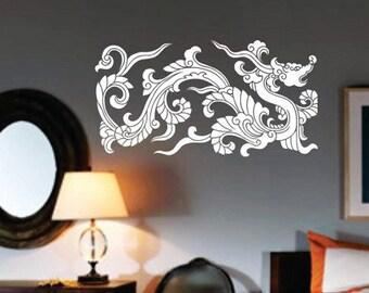 Chinese Tribal Dragon Wall Decal Sticker Mural Art Graphic Dragon Kid Boy Room Asian
