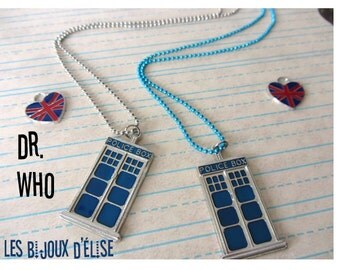 Police Box Blue Tardis Charms Pendant Necklace Inspired From Dr Who Pendant Necklace Antique Silver