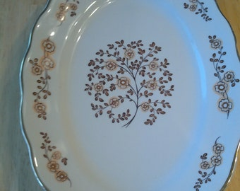 On Sale 1940s Favolina Gold Rim  Brown and White Floral Serving Platter Made in Poland