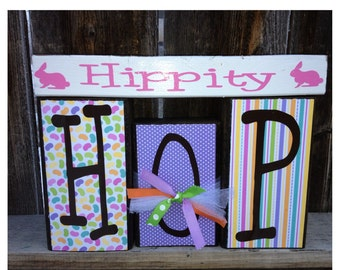Easter wood blocks- Hippity Hop