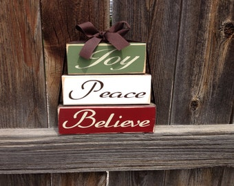 Christmas wood stacker-Joy, Peace, Believe wood blocks
