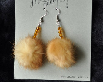 Brown fur mink earrings for every day