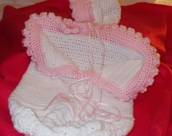 BABY BUNTING SET, Custom Order, Baby Sac and Hat Set, Photo Prop, Great for Car Seats,or Shower Gifts