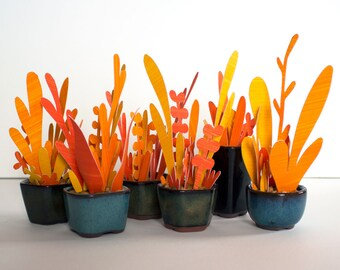 Red Orange Paper Fire Flowers (Potted Hand Cut Flowers)