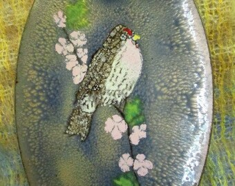 ENAMEL COPPER DISH signed with Bird perched on branch pink blossoms Birds Spring 4C