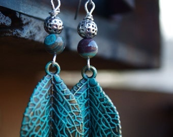Turquoise leaf earrings, silver and turquoise earrings, boho jewelry, silver earrings, verdigris leaves, yoga jewelry, zen earrings