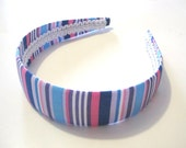 Fabric Covered Headband with Pink Purple Blue Stripes