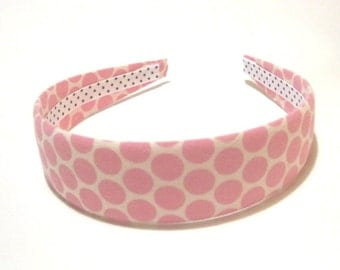 Fabric Covered Headbands Pink Polka Dots Girls Headband Adult Headband Cute Headband Preppy Boutique Birthday Gift Party Favors