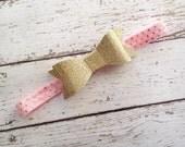 Pink and Gold Headband- Glitter Headband- Baby Headband- Baby Girl Headband- Birthday Headband-  Boutique- Newborn Headband