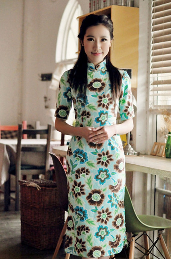 Spring Summer Printed Floral Linen Chinese Dress,Cheongsam / Only 5pcs- Size M-100,110cm
