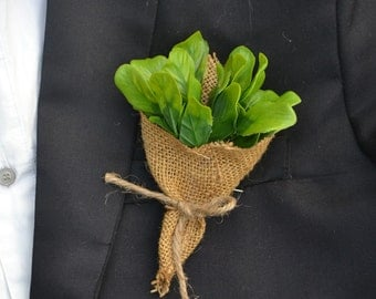 wedding boutonniere artificial leaves
