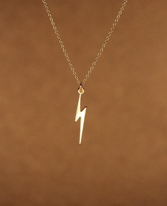 Lightening bolt necklace - gold lightening bolt - thunder - storm - a 22k gold overlay lightening bolt on a 14k gold vermeil chain