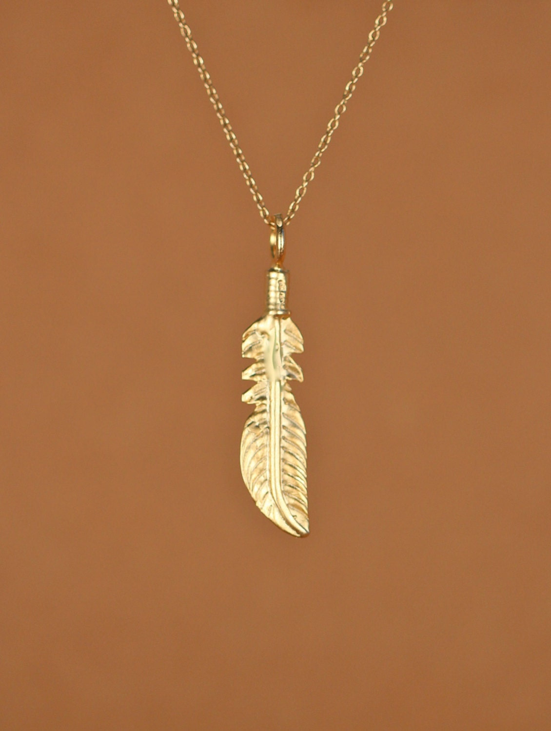 feather necklace gold feather necklace layering necklace