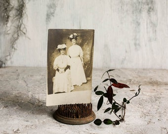 Portrait of two Women Vintage Photograph Circa 1920s  Paper Ephemera Anique Sepia Postcard