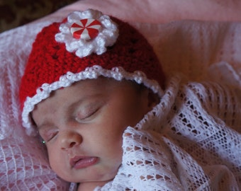 Peppermint Patty Holiday Crocheted Baby Hat - Red w/ White