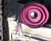 Hot Pink Leather Flower Bracelet with Black Cowhide Band and Darkened Silver Buckle