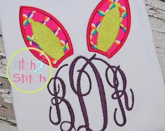 Cute Easter Bunny Ears with Fancy Circle Monogram
