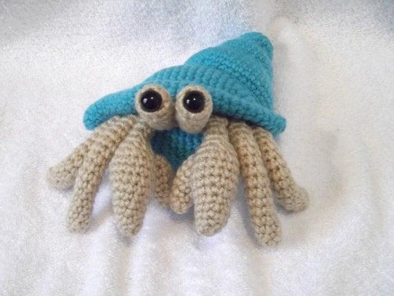 Amigurumi Hermit Crab : Amigurumi Crocheted Hermit Crab With Bright Sky by BabysBounty