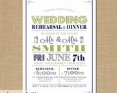 Wedding Rehearsal & Dinner Invitation - 5x7 - Vintage Poster Style - You pick your colors, Digital File, Modern Typography